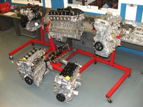 A group of the latest manufacturers engines ready for researching.