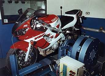 Testing the latest motorcycles for horsepower ot the output shaft on the dyno.
